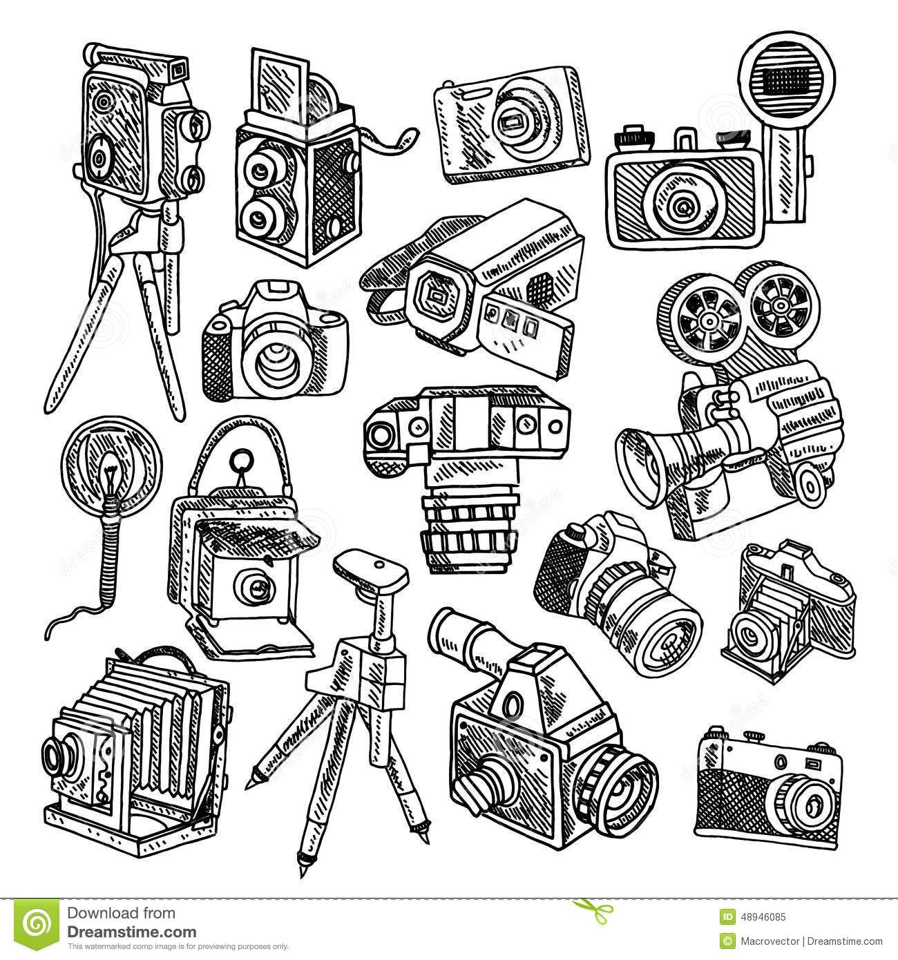Camera doodle sketch icons set Camera doodle, Sketch
