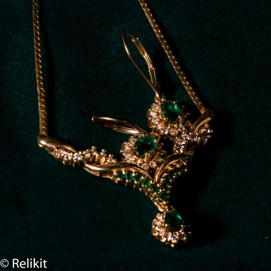 14k Gold Emerald and Diamond necklace with matching earrings $599.99 at Relikit.com