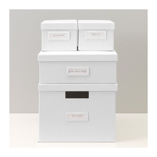 TJENA Box with lid - white - IKEA // For storage in white shelving unit.