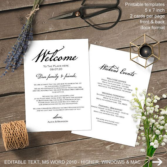 Wedding itinerary, welcome bag, welcome letter, wedding welcome - microsoft itinerary template