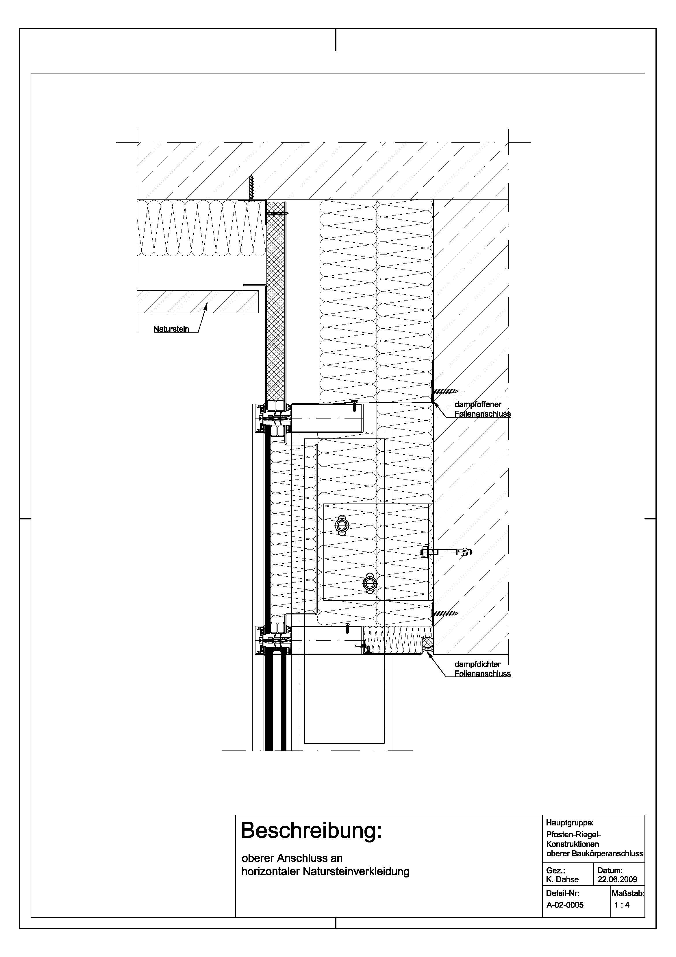 Tür detail anschluss  A-02-0005 Anschluss an horizontaler Natursteinverkleidung-A-02 ...