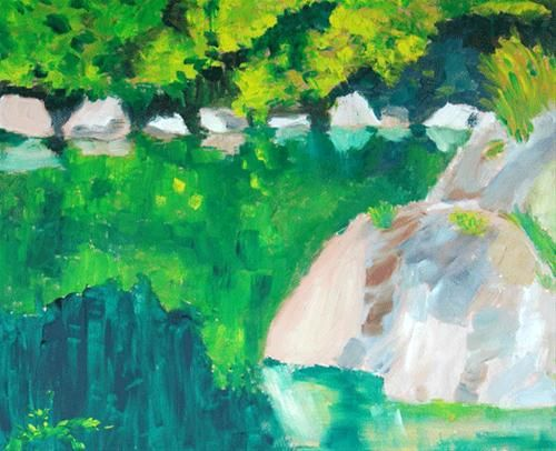 """Daily Paintworks - """"California Swimming Hole 2"""" - Original Fine Art for Sale - © Donna Crosby"""
