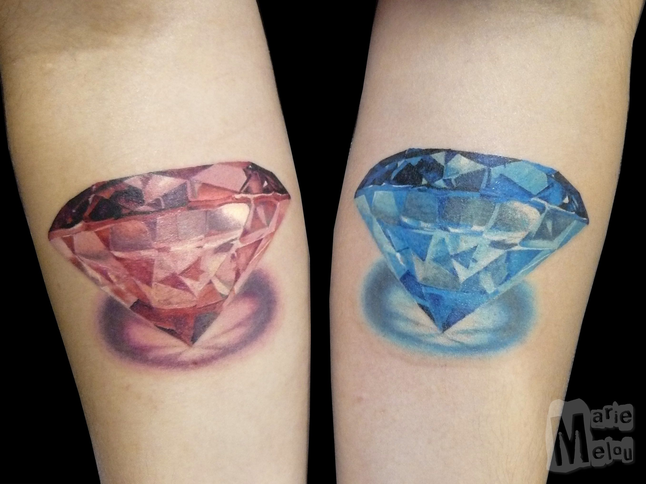Diamonds Diamants Tattoo Tatouage Realism Realiste Color Couleur