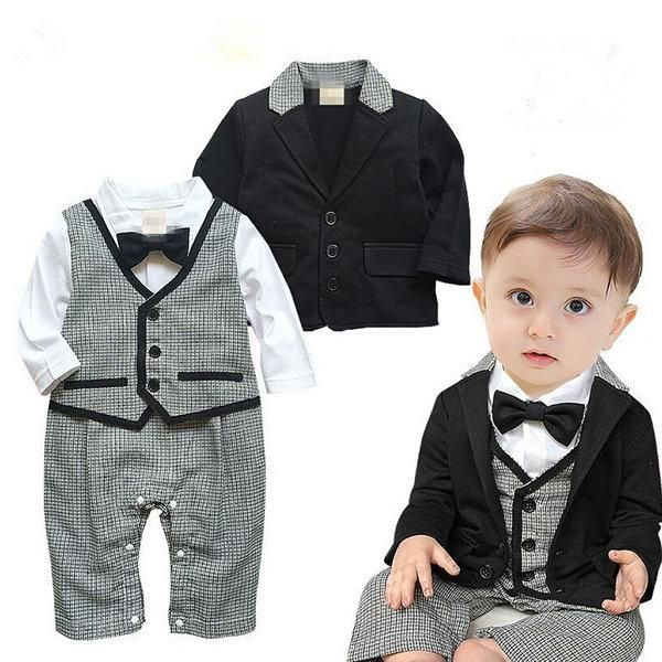 51fde8920d7 2pcs Formal Suit Style Baby Boy Romper with Coat Newborn Baby Boys Clothing  Onesie Jumpsuit  BabyMoms  BabyClothing