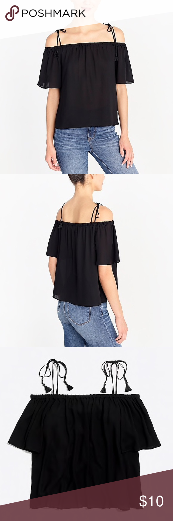 6cc0724532b42 Cold-shoulder tie tank top Slightly sheer. Poly. Machine wash. Import. Item  J0869. J. Crew Tops