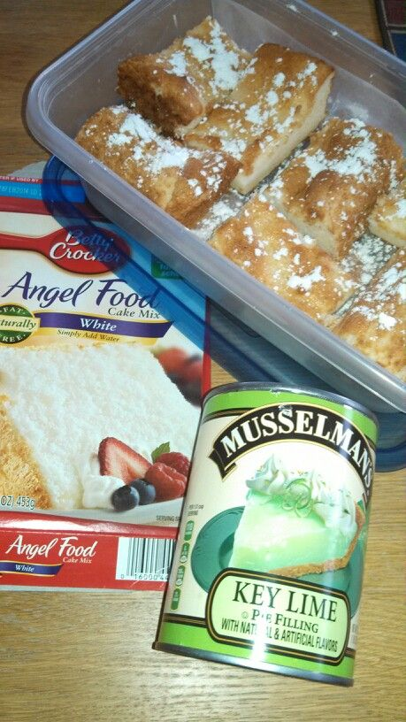 Angel food cake mix, stir in 1 can of pie filling and bake at 350° in a 13x9 for 20-25 minutes. Let cool completely. Cut and serve with powdered sugar.