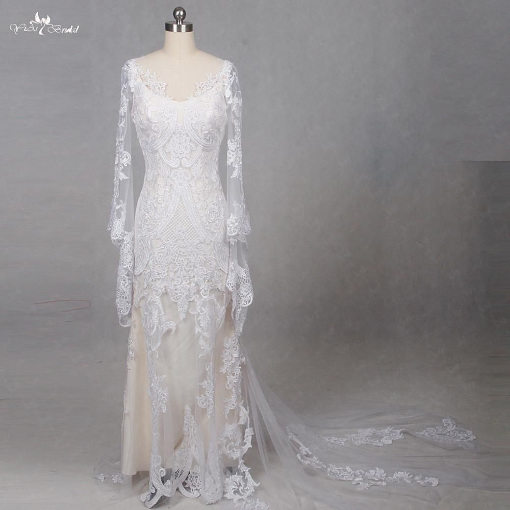 RSW Lace Long Sleeve Two Piece Beach Wedding Dress