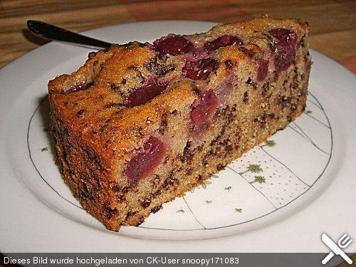 Nusskuchen Mit Sauerkirschen Obstkuchen Kuchen Muffins Und Cake