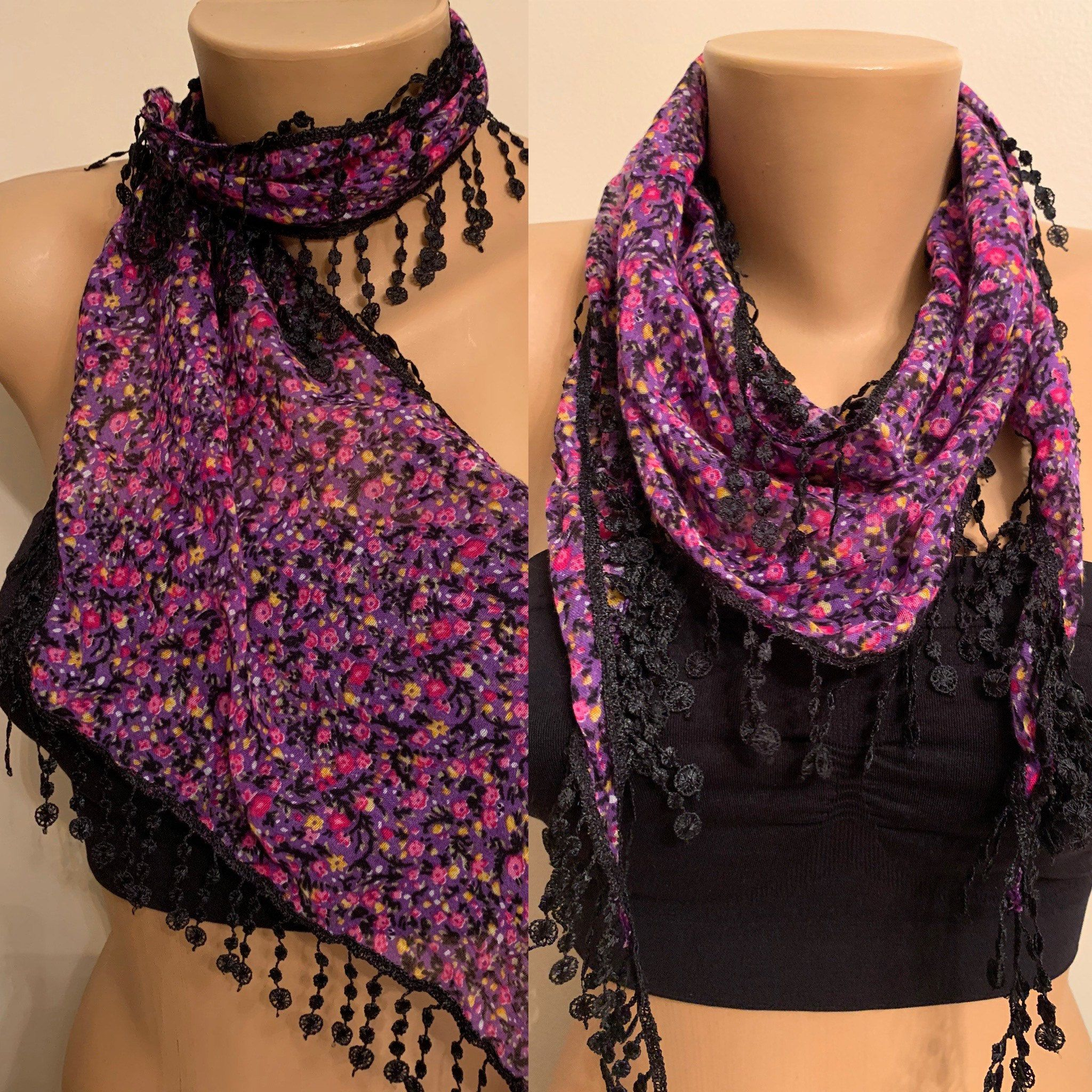 Photo of Purple Black Floral Scarf, Cotton Lace Scarf, Gift for her, Birthday Gifts, Floral Headbands, Best Gifts for Mom, Soft Triangle Scarf