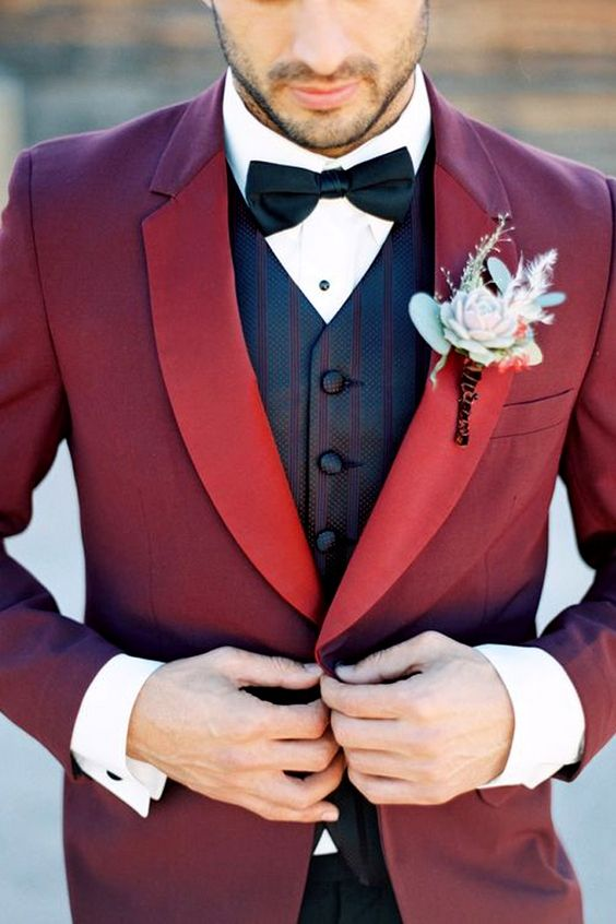 Purple and Burgundy Groom Suits