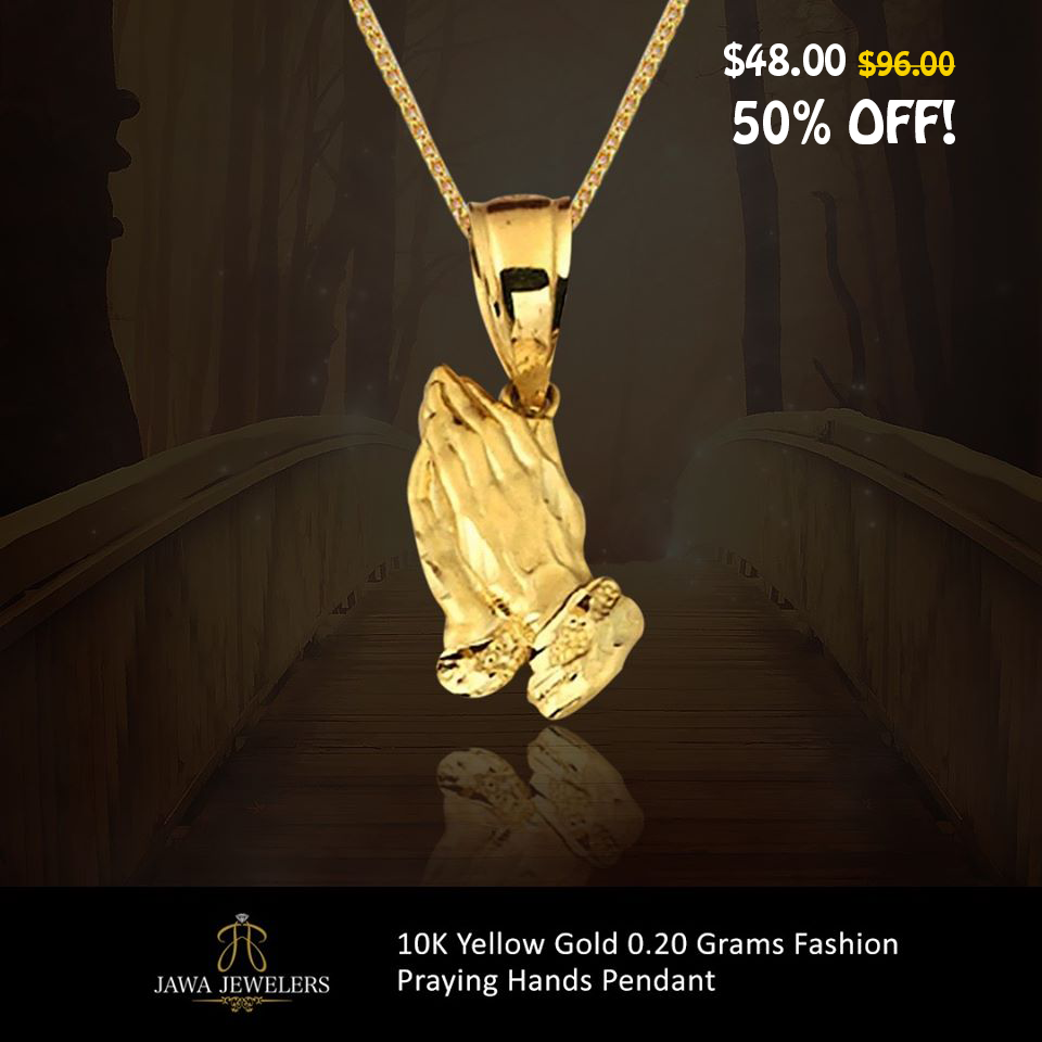 10k Yellow Gold Fashion Praying Hands Pendant In 2020 Gold Fashion Yellow Gold Praying Hands