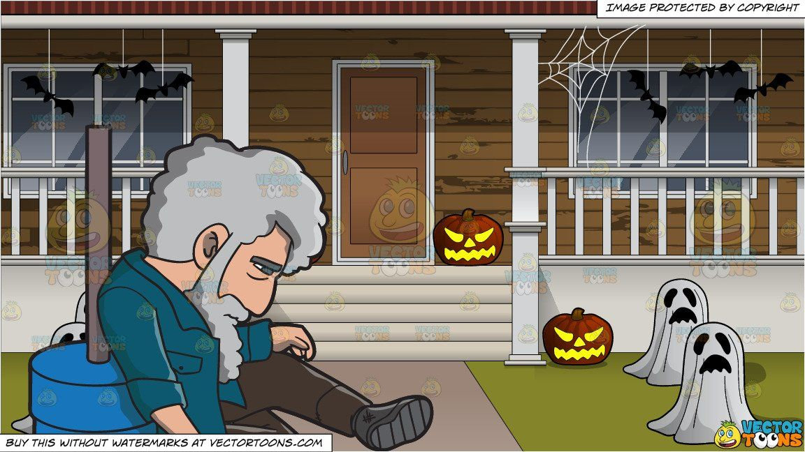 A Hopeless And Homeless Man In The Street And The Outside Of A House Decorated For Halloween Background In 2021 Halloween Backgrounds Homeless Man Blue Cups