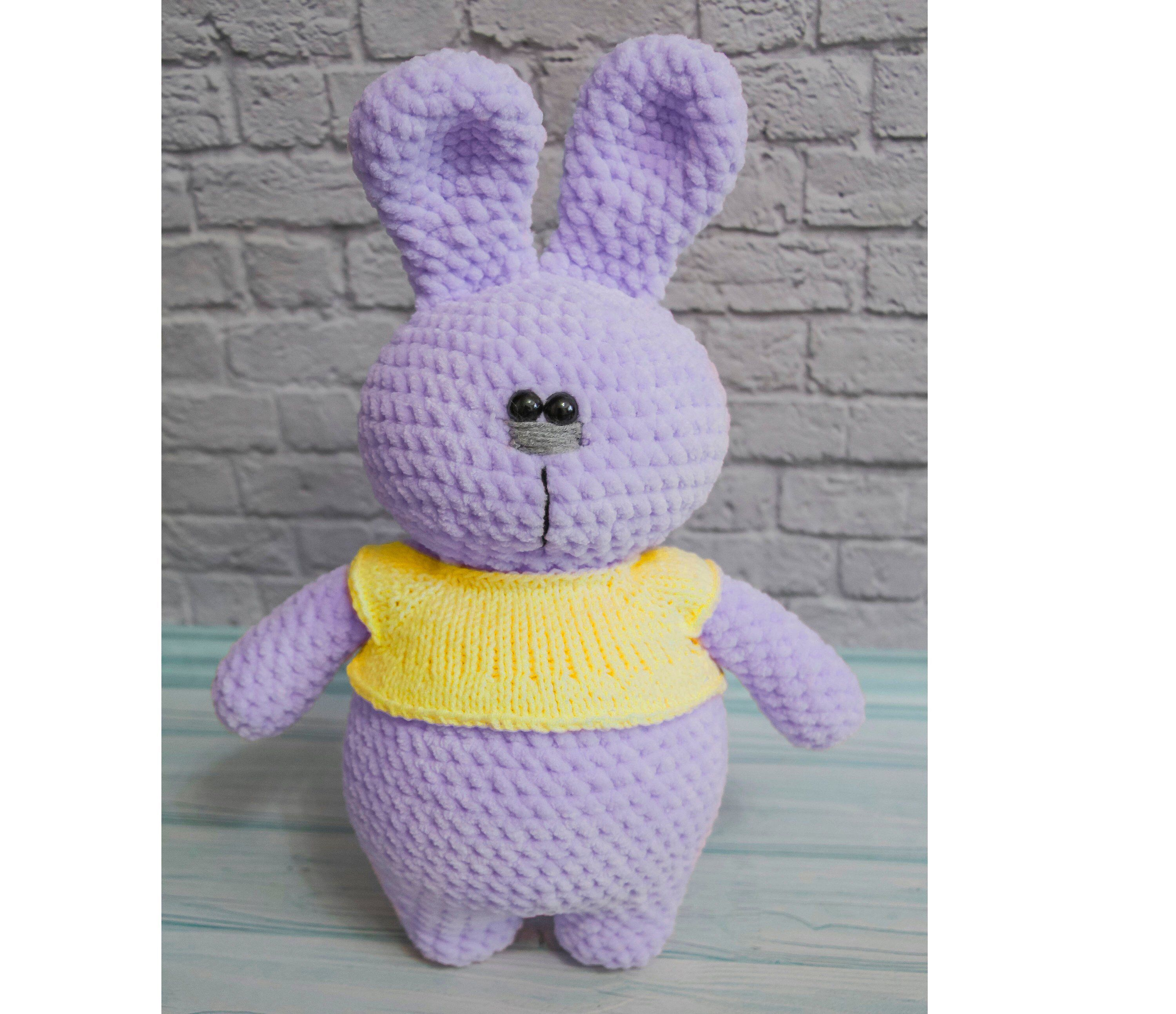 Plush bunny Lavender Bunny stuffed bunny Amigurumi rabbit hand knit hare cute bunny plush knitted rabbit stuffed rabbit toy Bunny toy Velor #bunnyplush