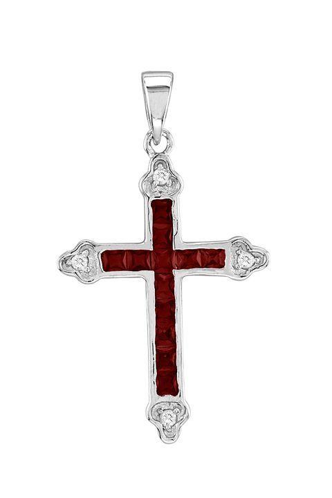 Kelly Herd Elegant Ruby Red Crystal Cross