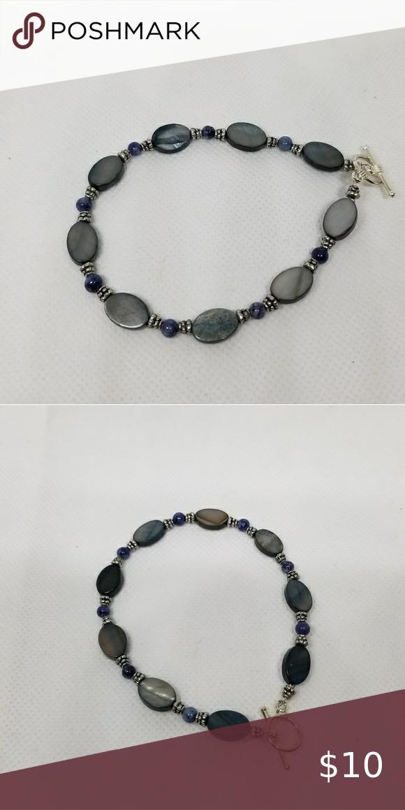 Slate Blue Gray Silver Toggle Bracelet