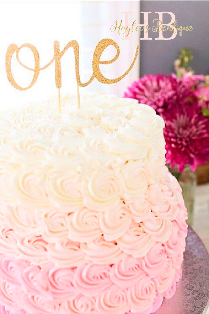 One Cake Topper Birthday Anniversary Gold Glitter Haylees
