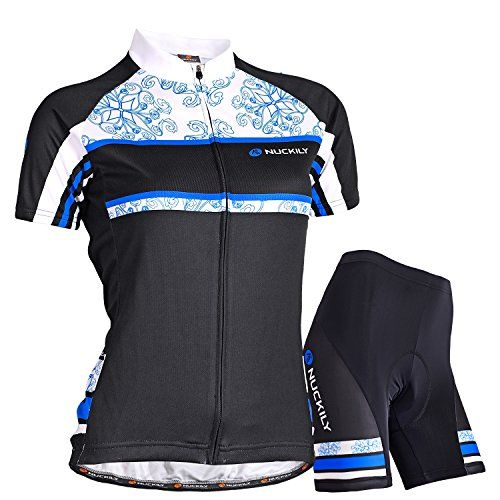 88ad2126c Amazon.com   NUCKILY Women s Floria Design Jersey and Matching Short 2pcs  Set Cycling Wear   Sports   Outdoors