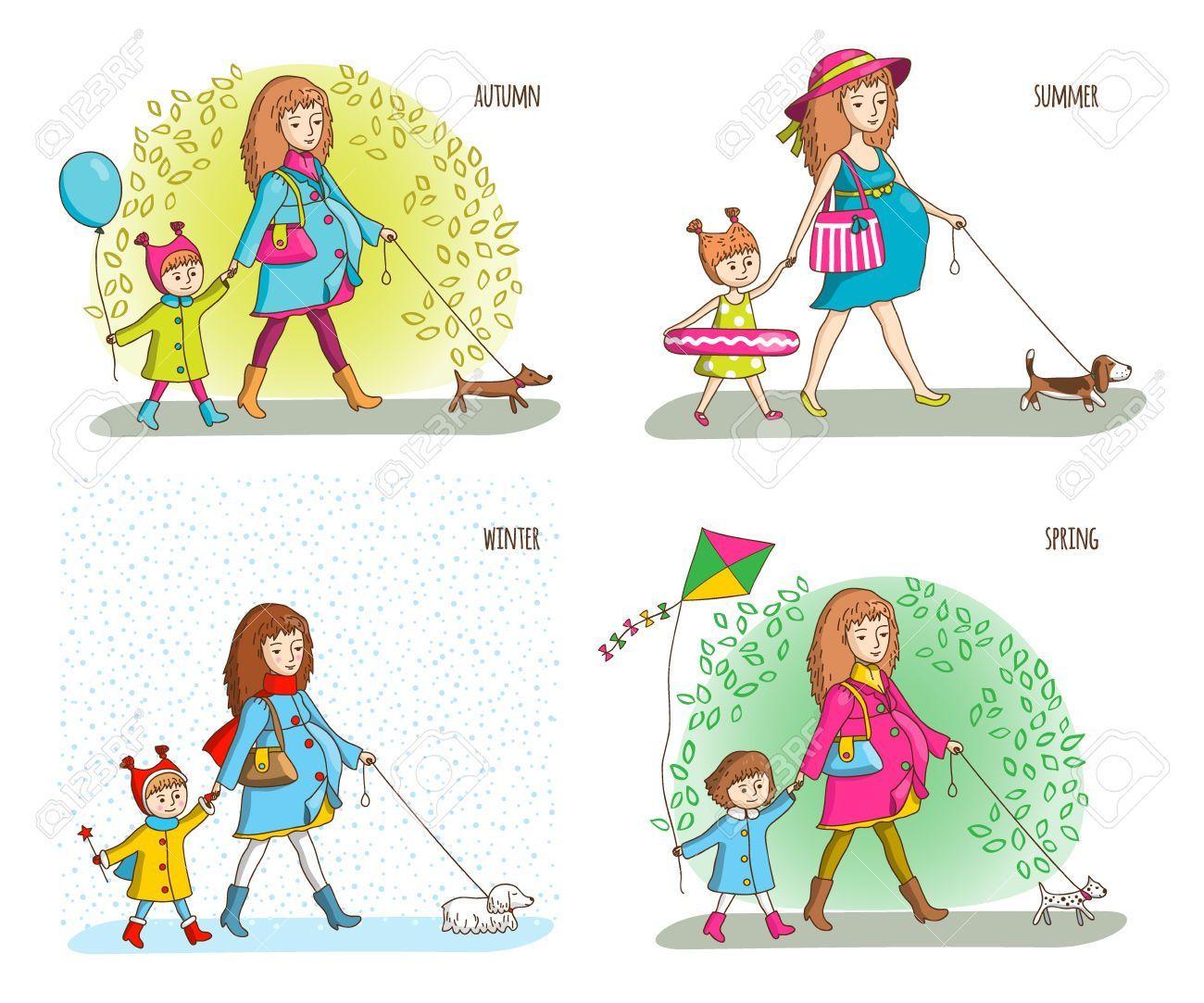 Mujer Embarazada Nina Y Perro Cuatro Estaciones Ilustracion De Vector De Primavera Verano Otono Invi Perros Para Ninos Estilos De Dibujo Mujer Embarazada