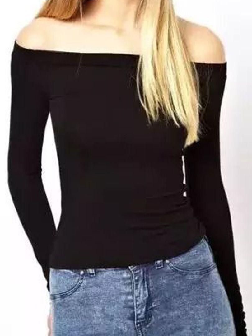 bcec04b9bf6 Black Off Shoulder Tight Long Sleeve T-shirt | Choies | Choies ...