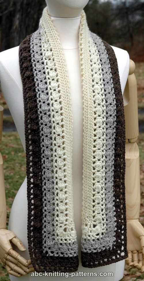 ABC Knitting Patterns - Snowy Evening Bobble Scarf - crochet ...