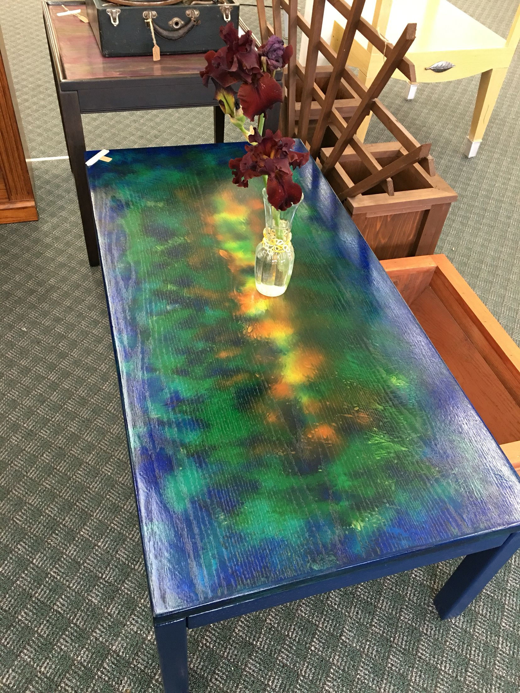 Oak Coffee Table With Unicorn Spit Bright Painted