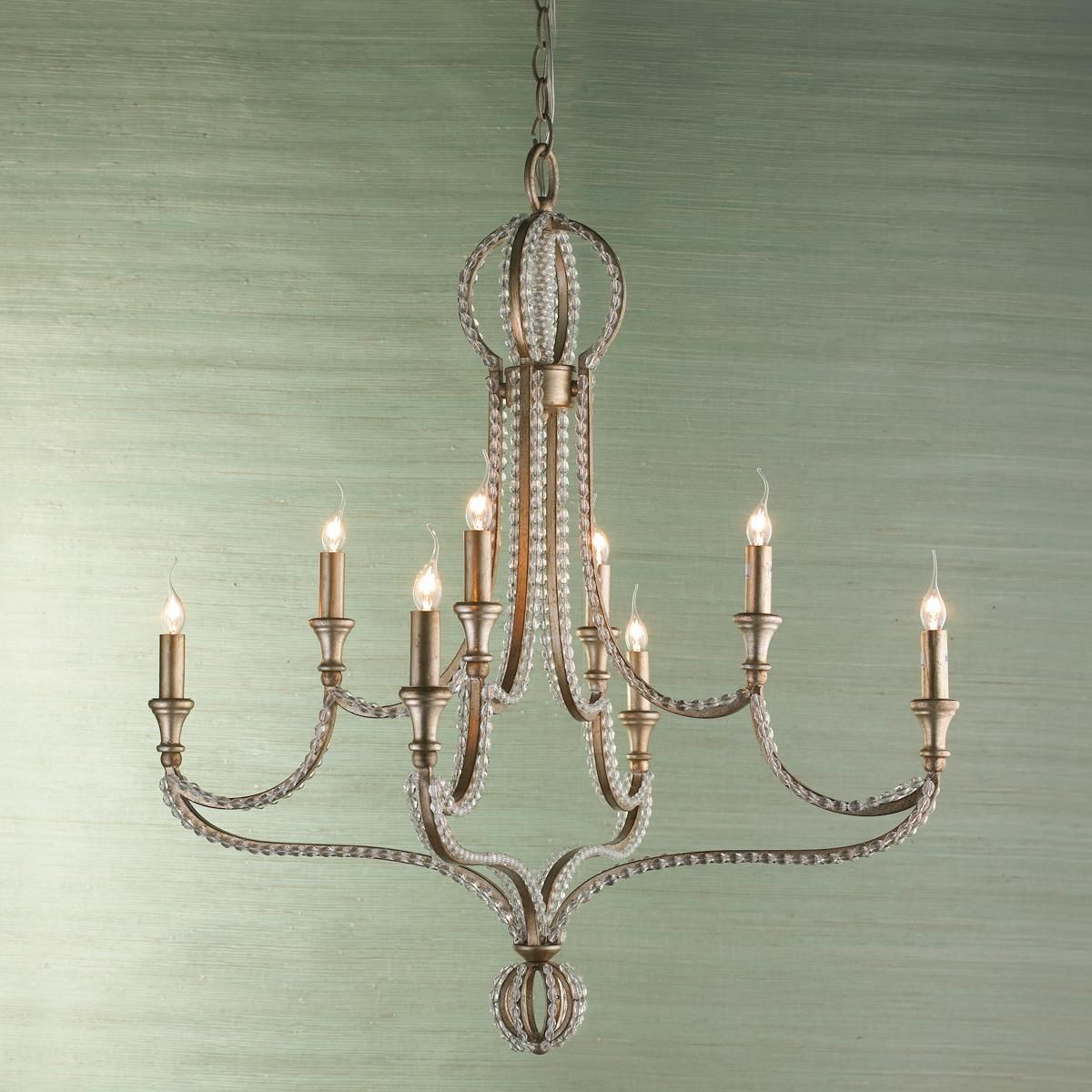Crystal Beaded Crown Chandelier From