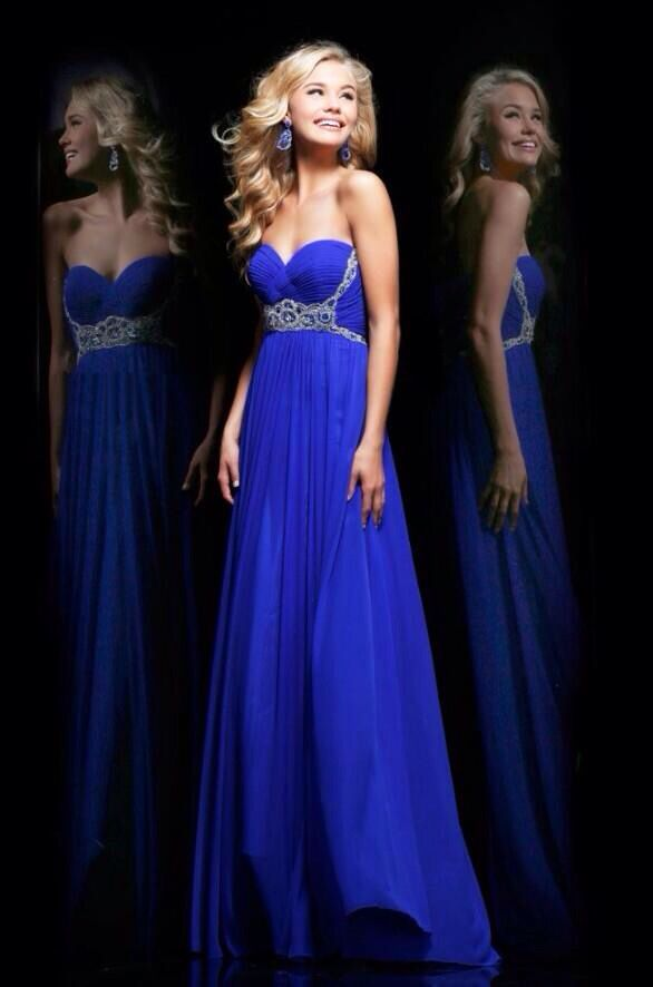 Blue long prom dress