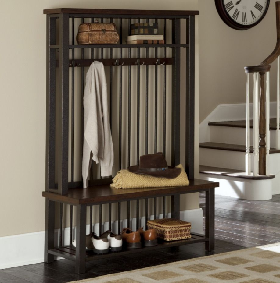 Coat Rack Bench Hall Tree Free Standing Bench Storage Hook Wood Vintage Mahogany Homestyles Hall Tree Entryway Furniture Home Styles
