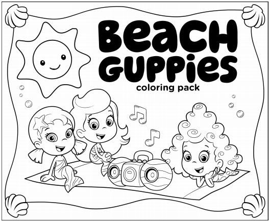 Guppies Beach Coloring Pack Thema Kleurplaten Afbeeldingen