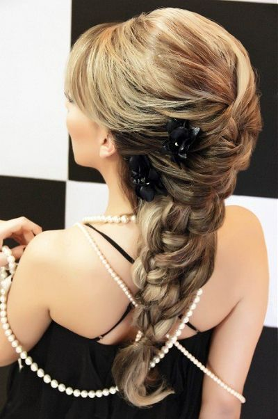 Long and massive formal braided hairstyle