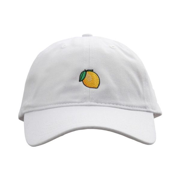 Lemonade Dad Hat Featuring Polyvore Womenu0026#39;s Fashion Accessories Hats Clothing Embroidery Hats ...