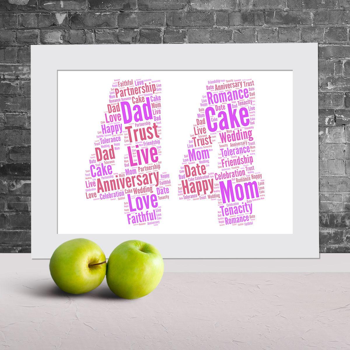 44th anniversary word art word art prints word art app