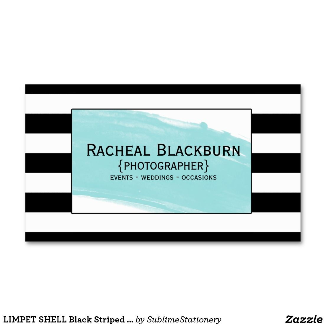 Limpet shell black striped watercolor photography business card limpet shell black striped watercolor photography business card reheart Choice Image