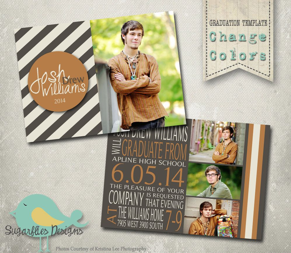 Boy Graduation Announcement PHOTOSHOP TEMPLATE Senior Graduation