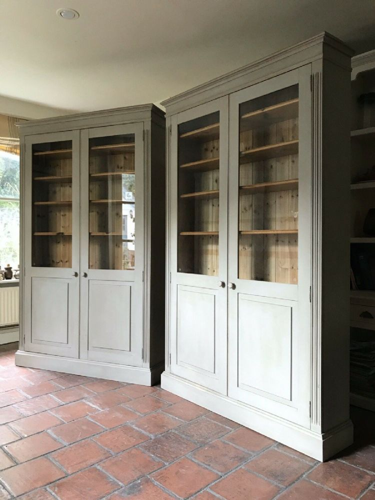 Grey Painted Glazed Solid Pine Bookcase Kitchen Display ...