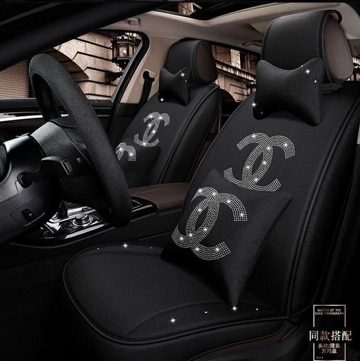 214 24 Crystals Polyester Chanel Car Seat Covers Mats Auto Seat Cushion 11pcs Sets Black Car Seats Car Seat Cushion Leather Car Seat Covers