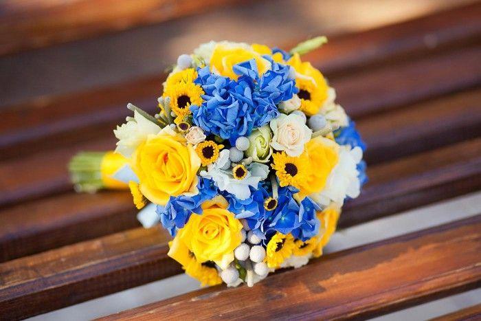 Brautstrauß Blau-Gelb