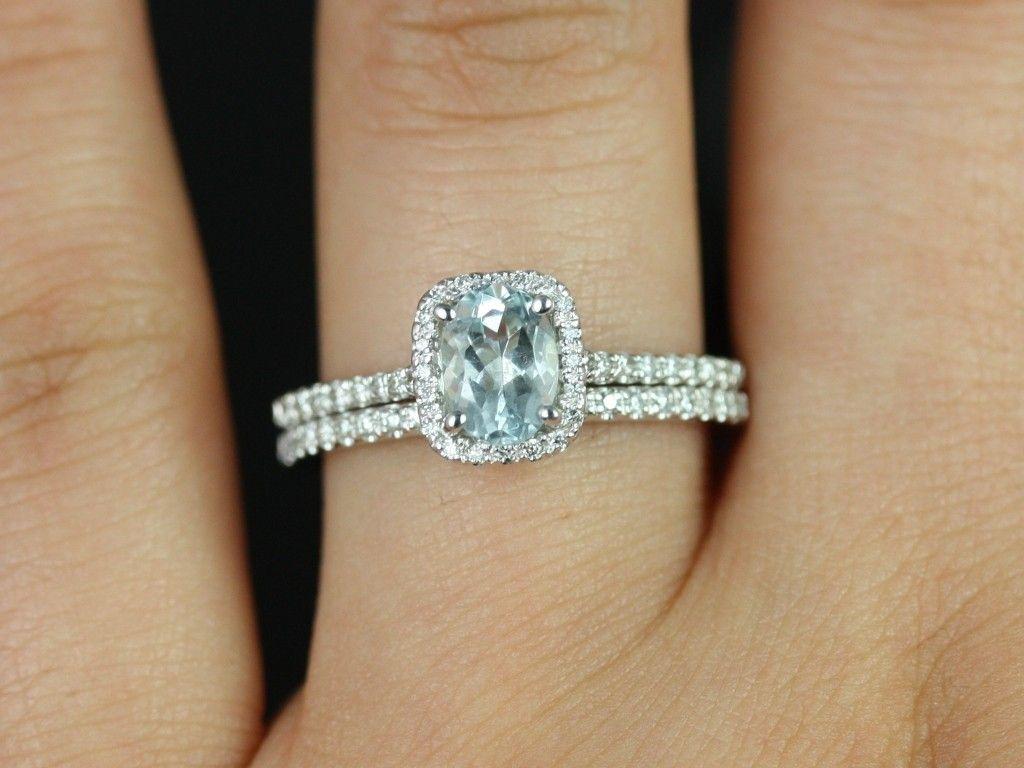 Rosados Box Romani 7x5mm 14kt White Gold Oval Aquamarine And Diamonds Cushion Halo Wedding Set