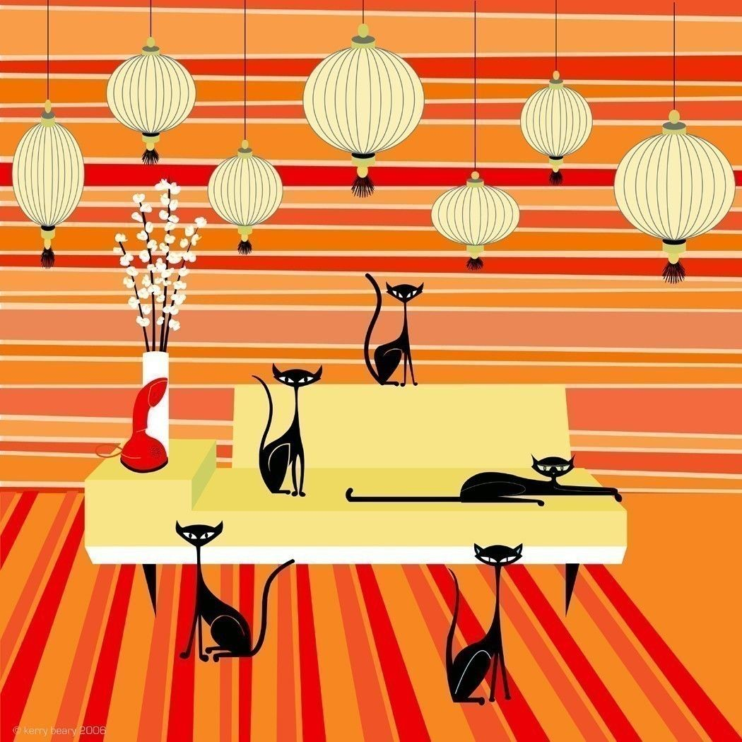 Mid-Century Modern Wall Art - retro cat - Quint Cats 5 cats in a ...