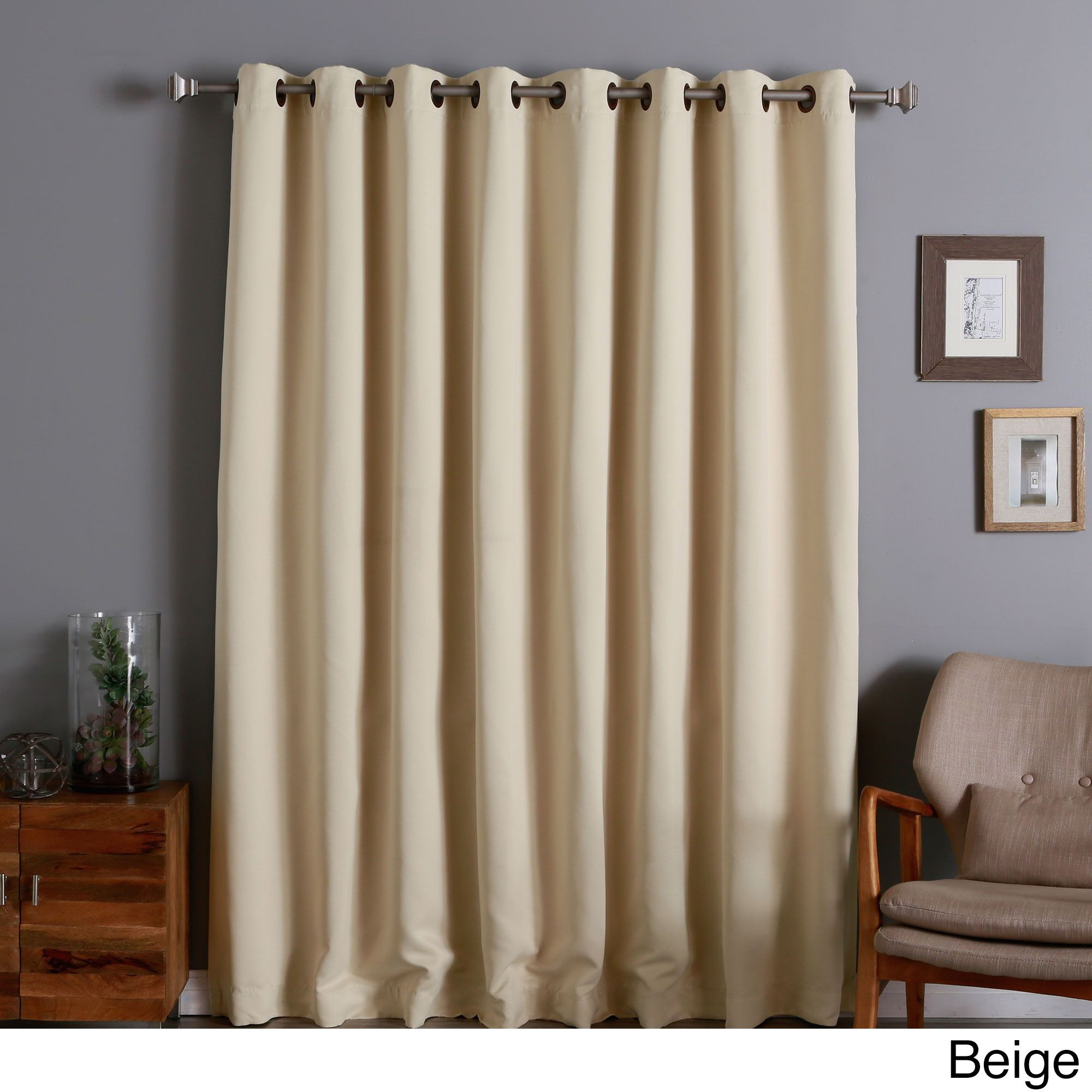 Aurora Home Extra Wide Thermal 96 Inch Blackout Curtain Panel Beige Brown Size 100 X Polyester Solid