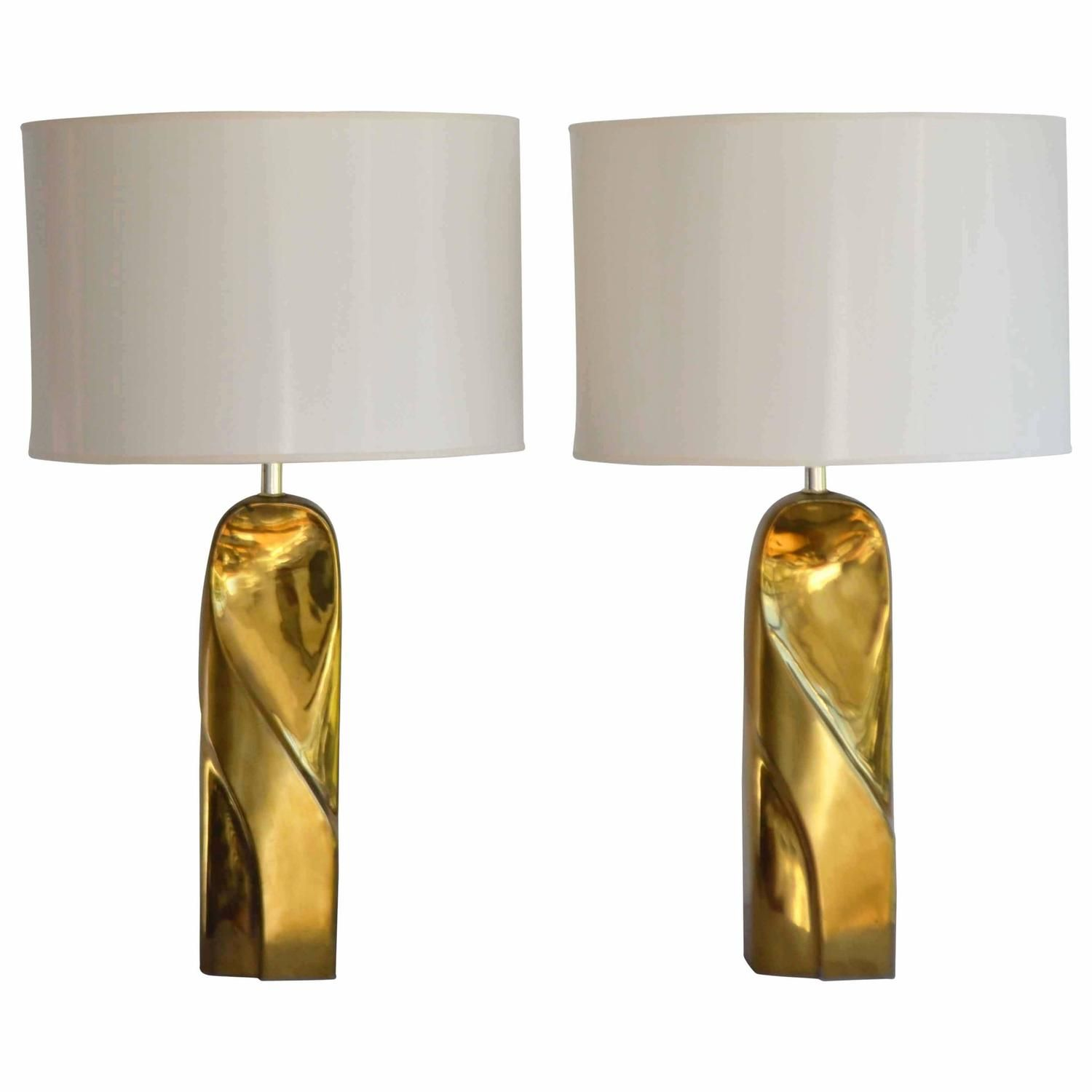 Pair Of Postmodern Polished Brass Table Lamps From A Unique