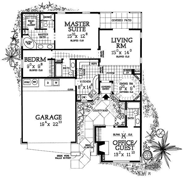 Ranch Style House Plan 4 Beds 3 Baths 1418 Sq Ft Plan 72 223 Courtyard House Plans Ranch Style House Plans Country House Plans