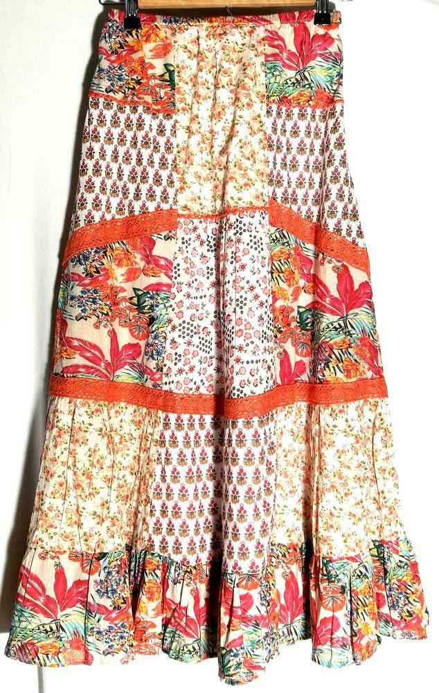 114ff00c52 New BILA 100% Cotton Multicolor Boho/Peasant Skirt - Lace Trim - Size Small  -Tag #Bila #PeasantBoho