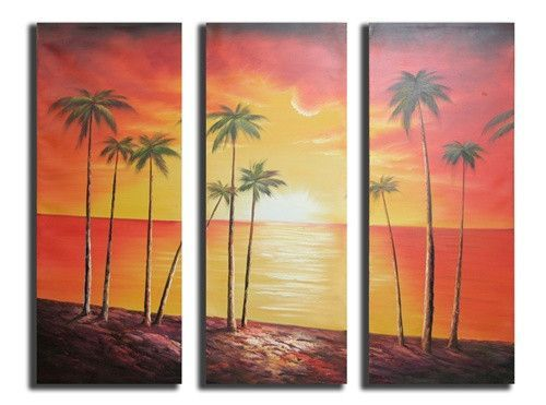 Canvas Art - Wall Art finished in USAHistory: This soothing canvas art invites the viewer for a walk along the coconut groves. This oil painting depicts a glowing sunset of