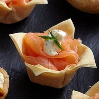 Mini Salmon Filo Tarts