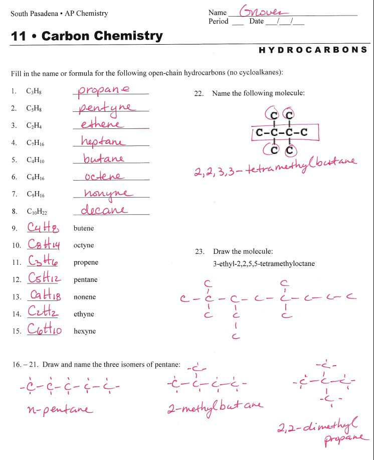 hydrocarbon nomenclature – Balancing Act Worksheet Answers