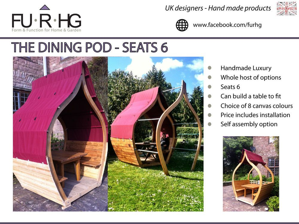 Garden Furniture Pod luxury dining pod, room, gazebo, arbour, shelter, seating garden
