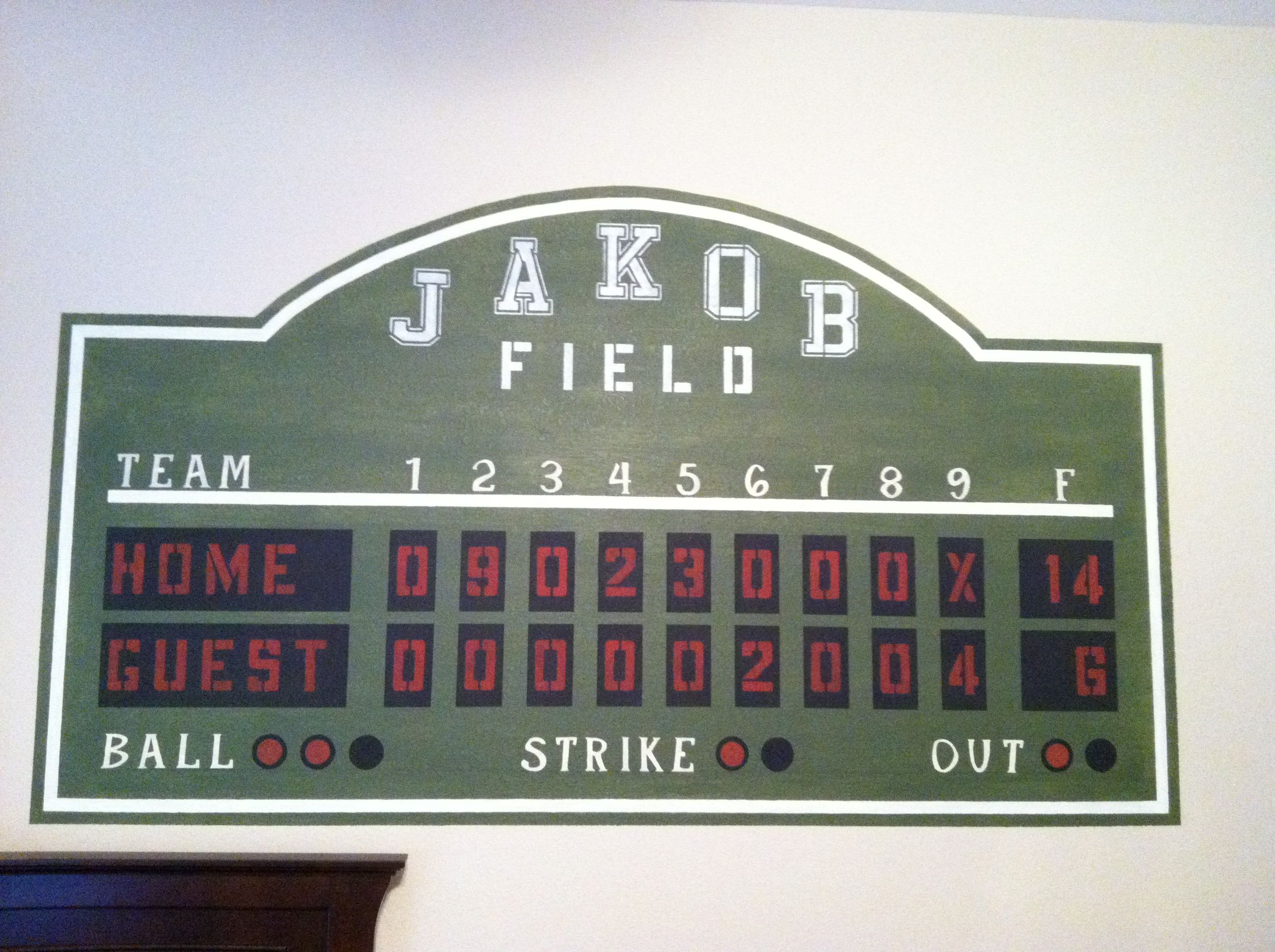Baseball Scoreboard Boys Bedroom