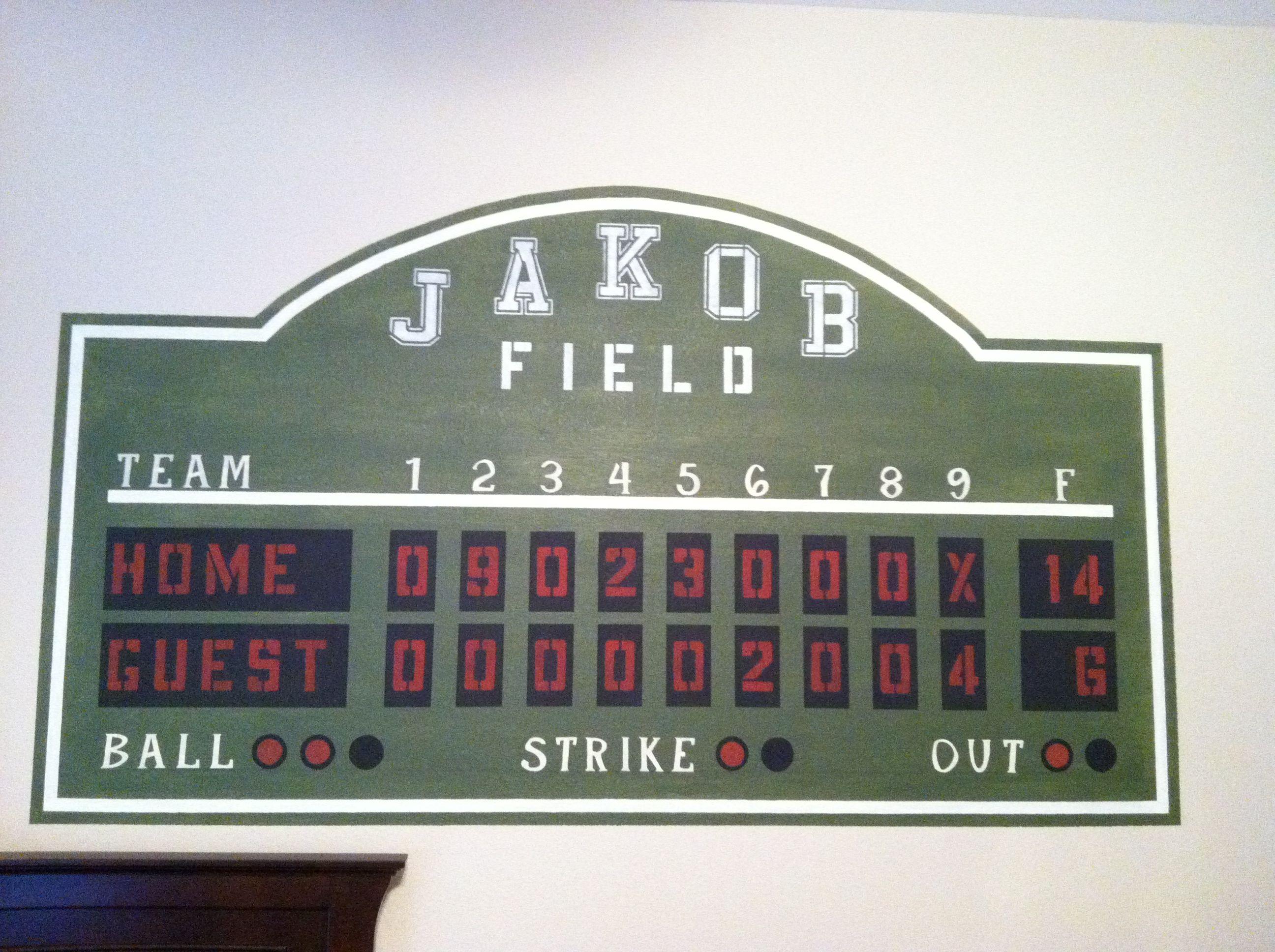 Baseball Scoreboard Boys Bedroom