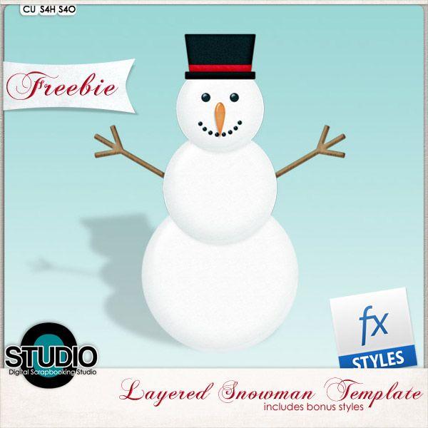 Photoshop Tutorial Make a Snowman Scrap tutorials Pinterest - snowman template